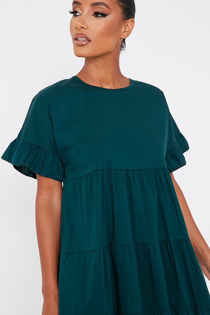Forest Green Woven Tiered Frill Sleeve Smock Dress view 5