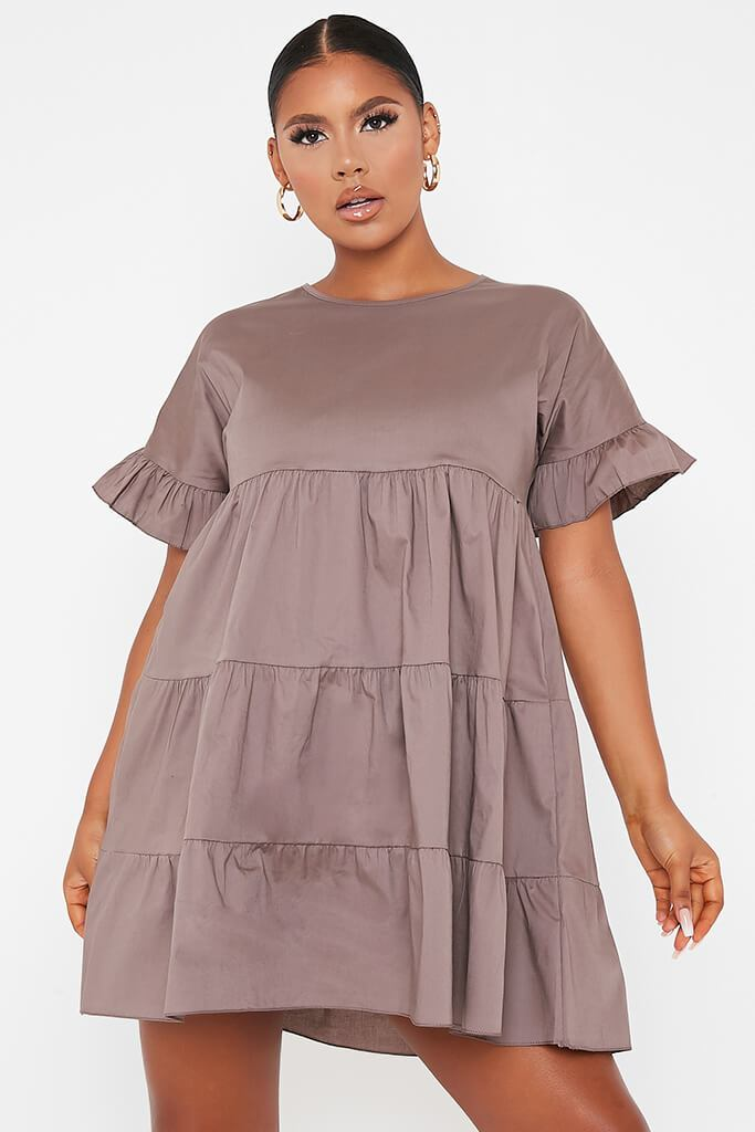 Mocha Woven Tiered Frill Sleeve Smock Dress view main view