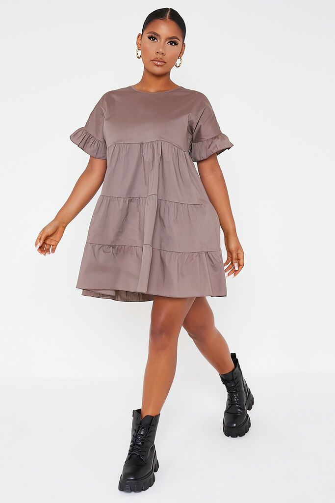 Mocha Woven Tiered Frill Sleeve Smock Dress view 2