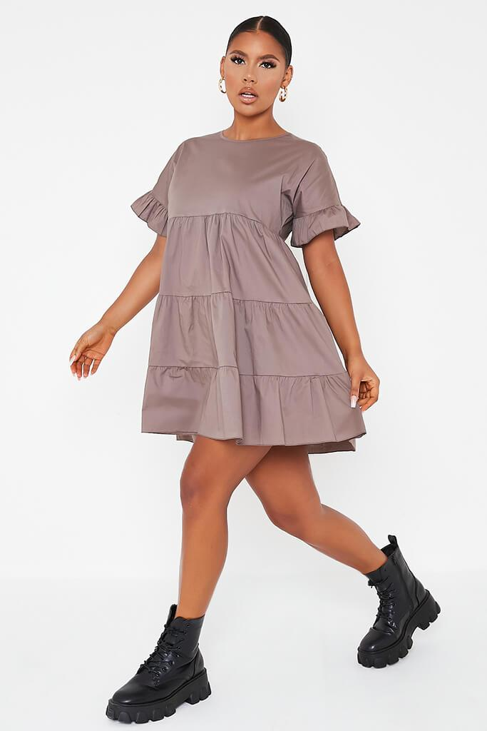 Mocha Woven Tiered Frill Sleeve Smock Dress view 3