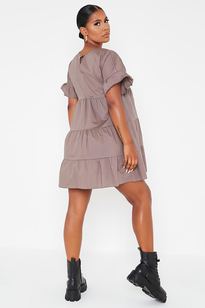 Mocha Woven Tiered Frill Sleeve Smock Dress view 4
