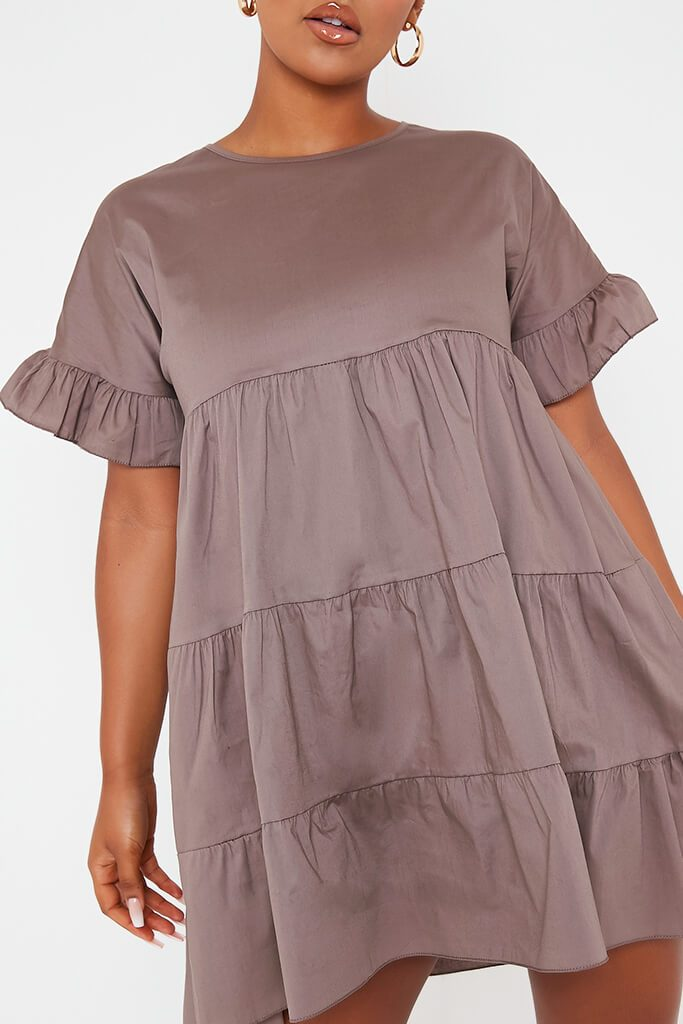 Mocha Woven Tiered Frill Sleeve Smock Dress view 5