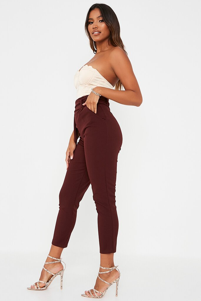 Chocolate D Ring Belted High Waist Trousers view 3