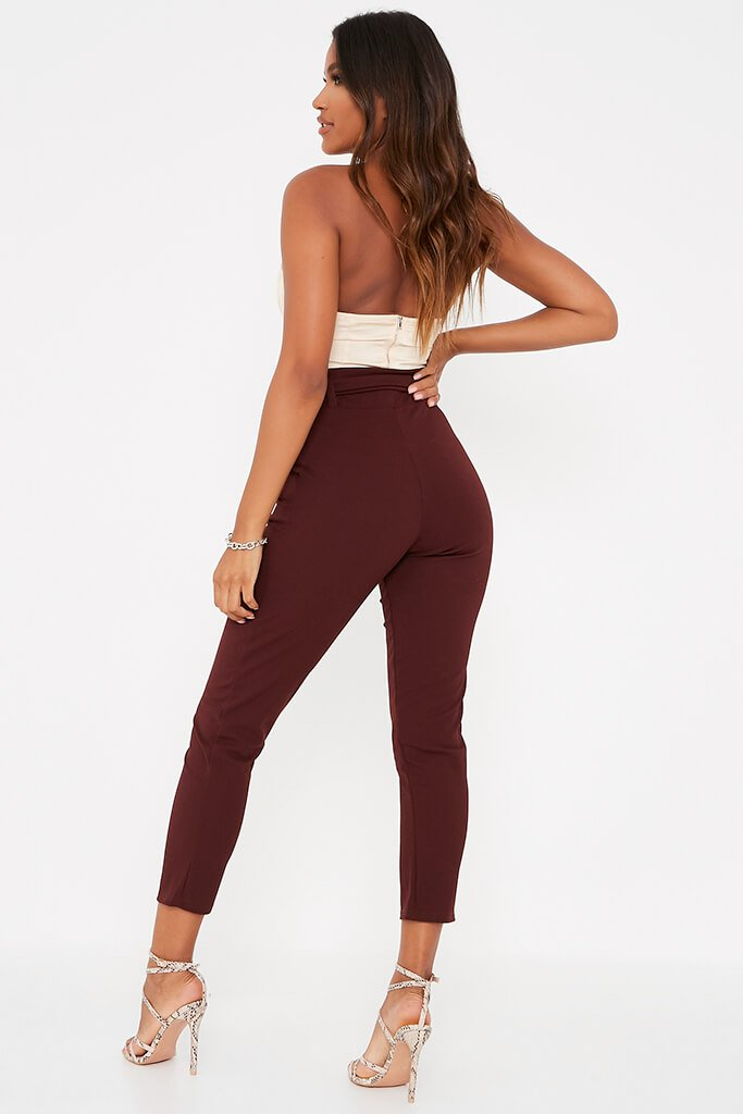 Chocolate D Ring Belted High Waist Trousers view 4