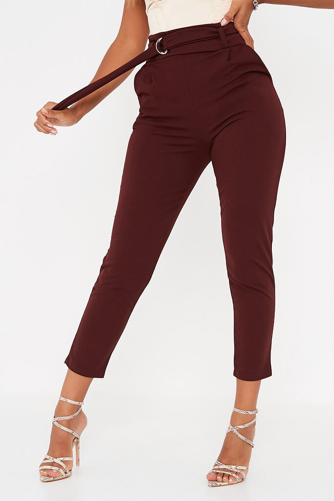 Chocolate D Ring Belted High Waist Trousers view 2