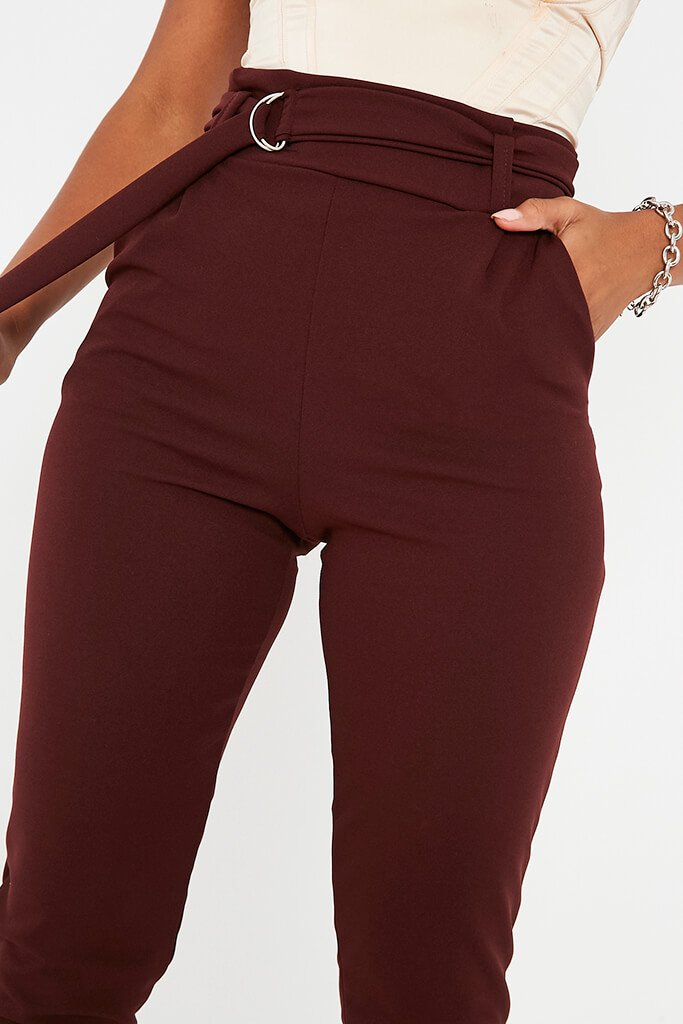 Chocolate D Ring Belted High Waist Trousers view 5