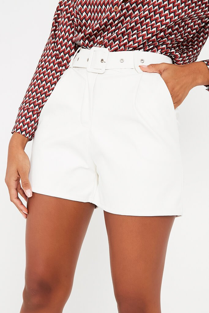 Cream Faux Leather Buckle Shorts view 5