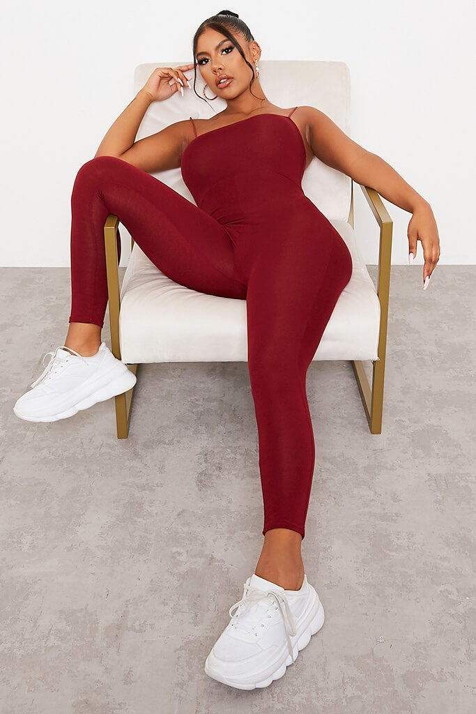 Burgundy Basic Jersey Cami Square Neck Jumpsuit