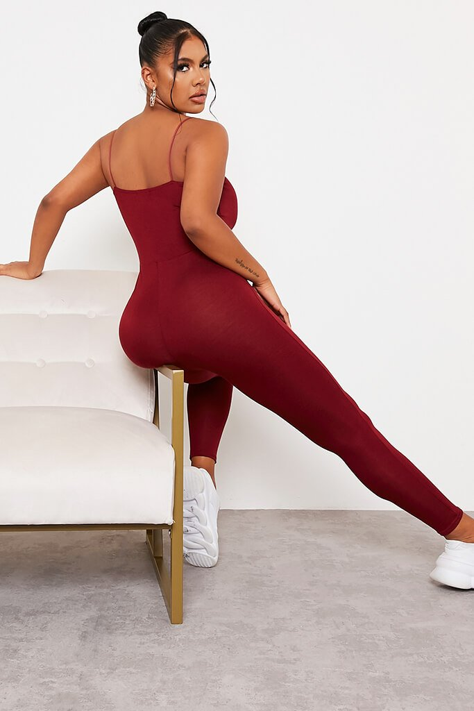 Burgundy Basic Jersey Cami Square Neck Jumpsuit view 4