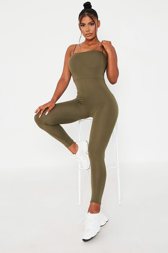 Khaki Basic Jersey Cami Square Neck Jumpsuit