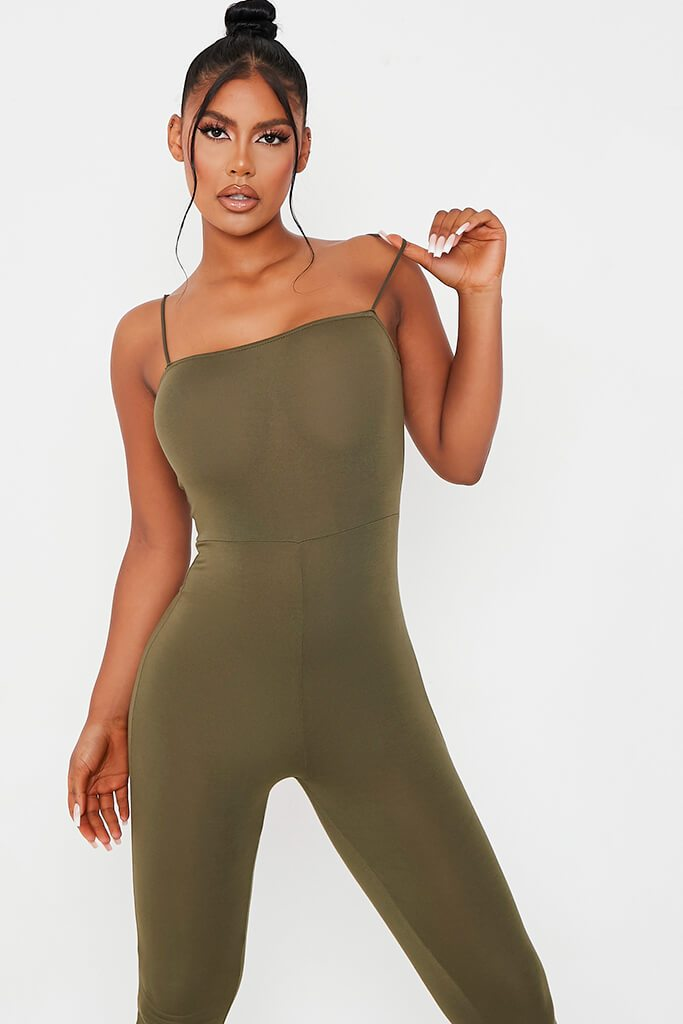 Khaki Basic Jersey Cami Square Neck Jumpsuit view 2