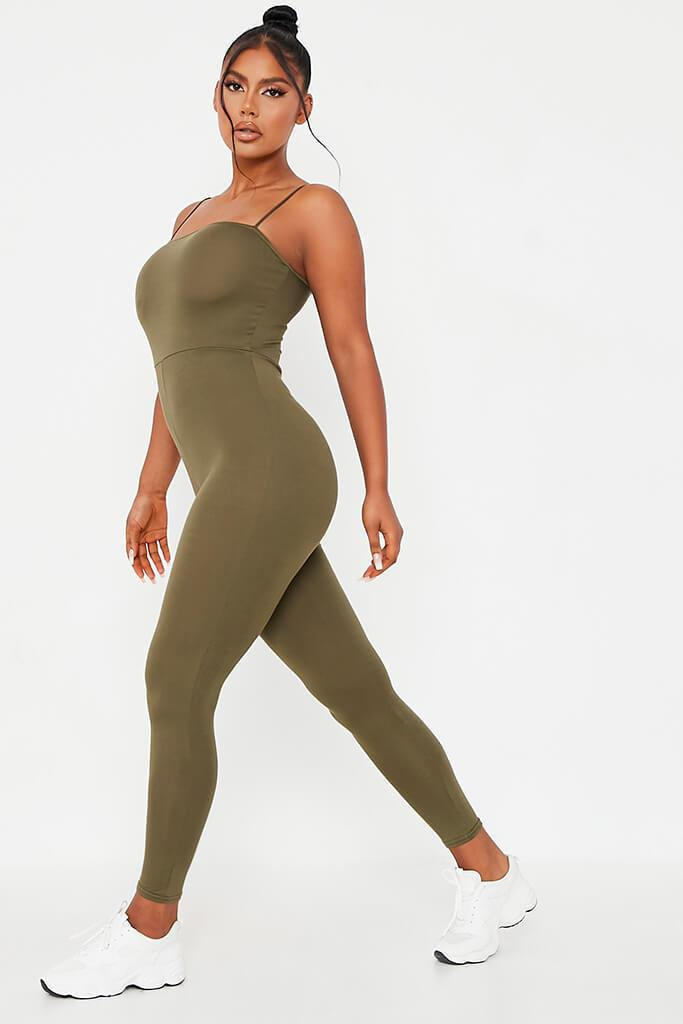 Khaki Basic Jersey Cami Square Neck Jumpsuit view 3
