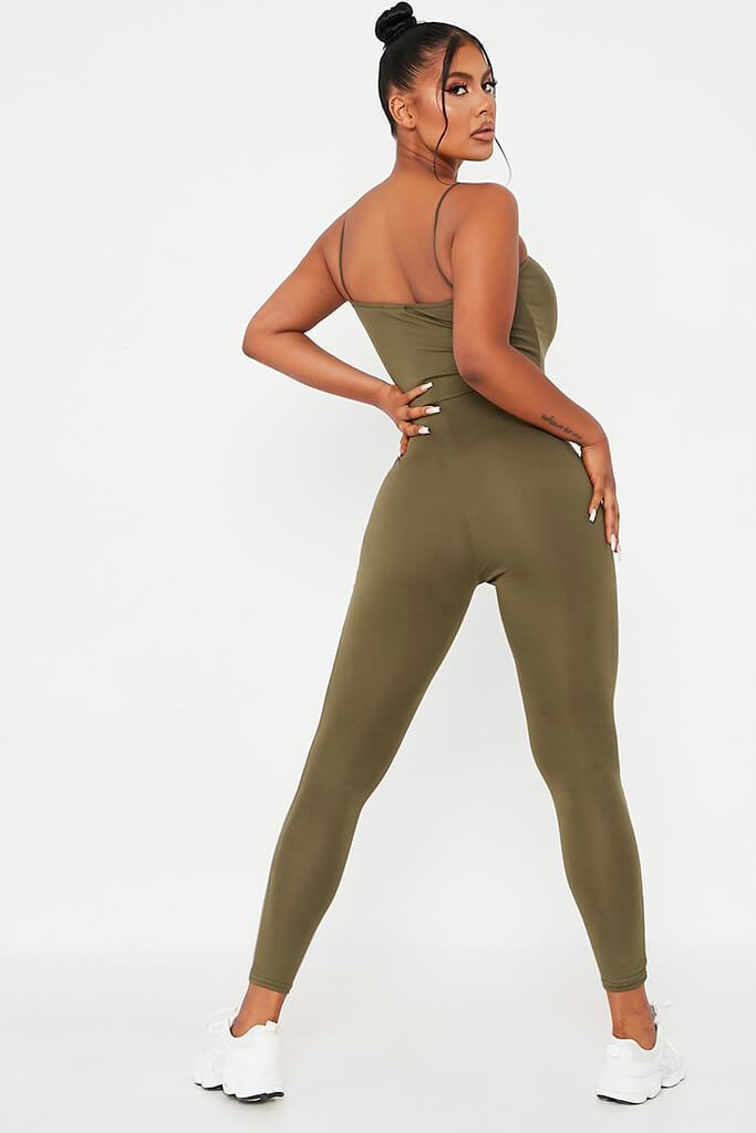 Khaki Basic Jersey Cami Square Neck Jumpsuit view 4