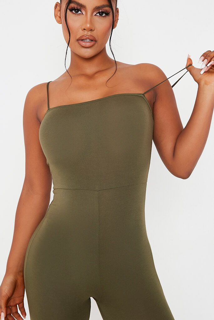 Khaki Basic Jersey Cami Square Neck Jumpsuit view 5