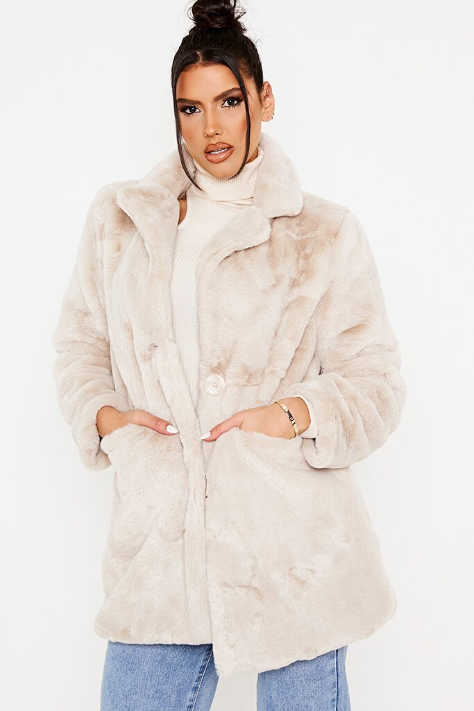 Stone Oversized Fur Coat