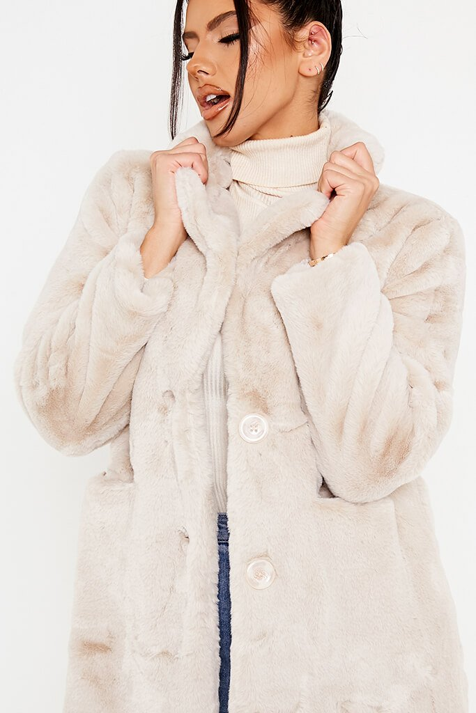 Stone Oversized Fur Coat view 5