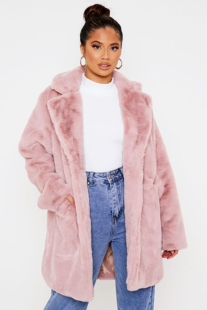 Pink Oversized Fur Coat view main view