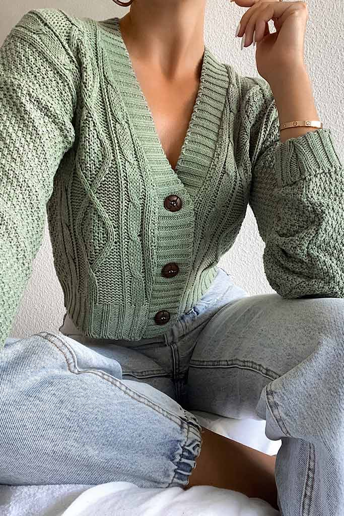 Sage Button Through Cable Knit Cardigan