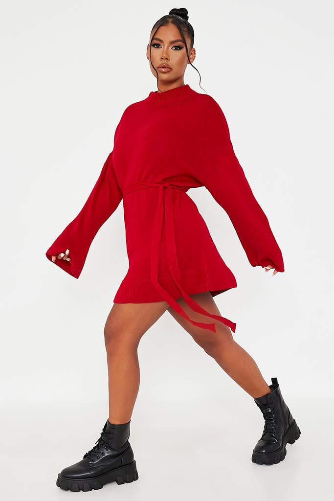 Red Knitted Belted Dress view 3
