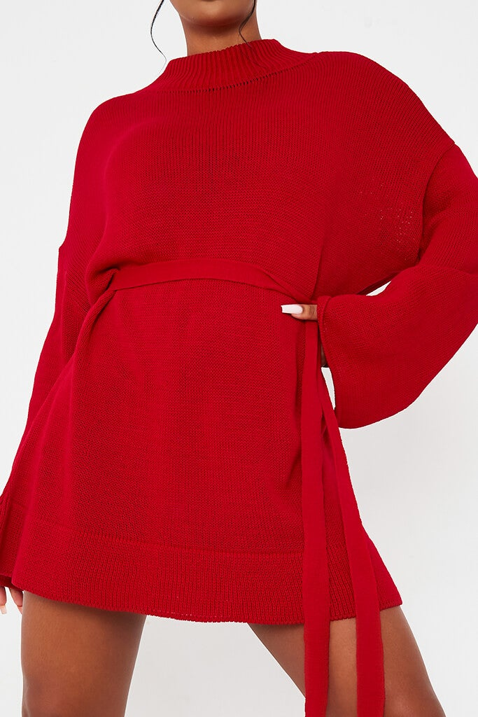 Red Knitted Belted Dress view 5