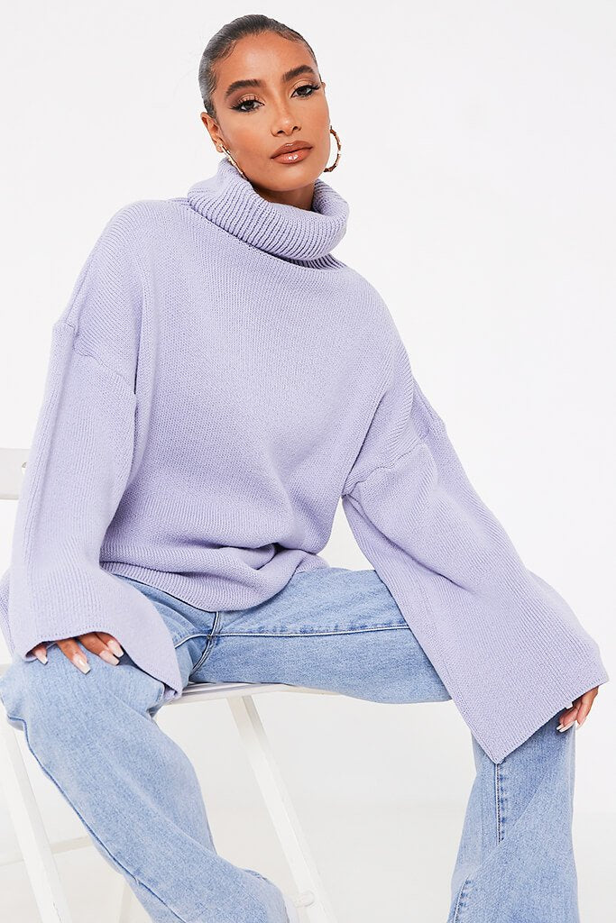 Lilac Oversized Roll Neck Knitted Jumper