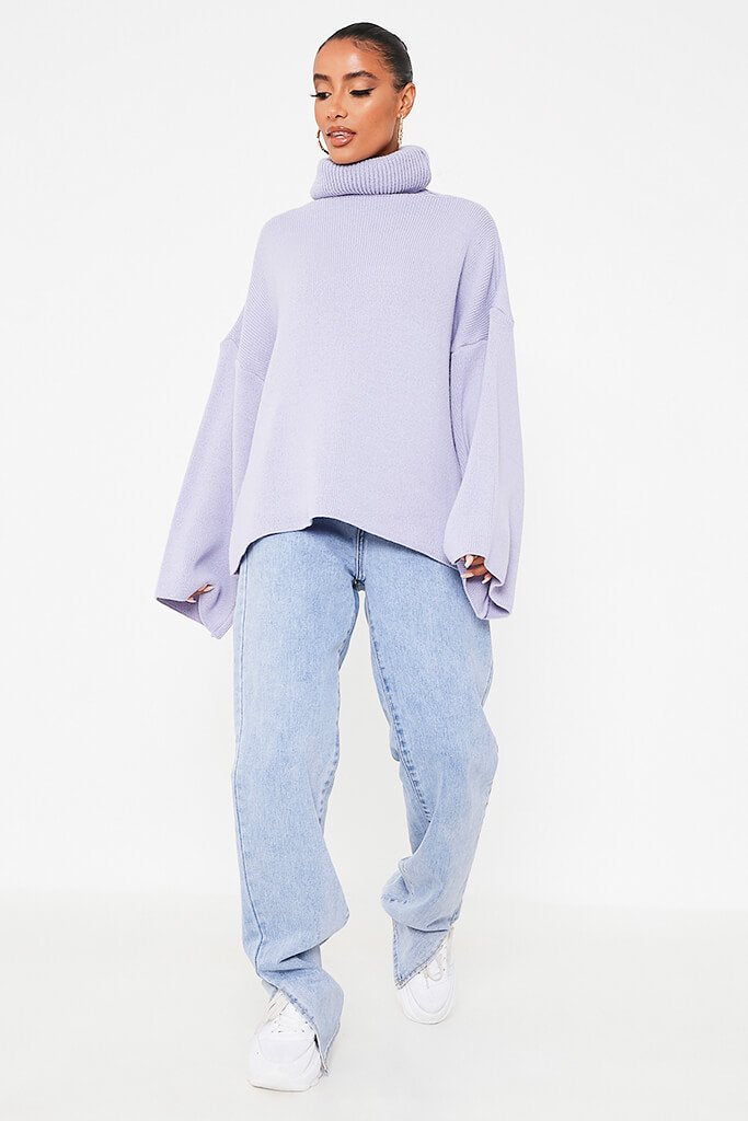 Lilac Oversized Roll Neck Knitted Jumper view 2