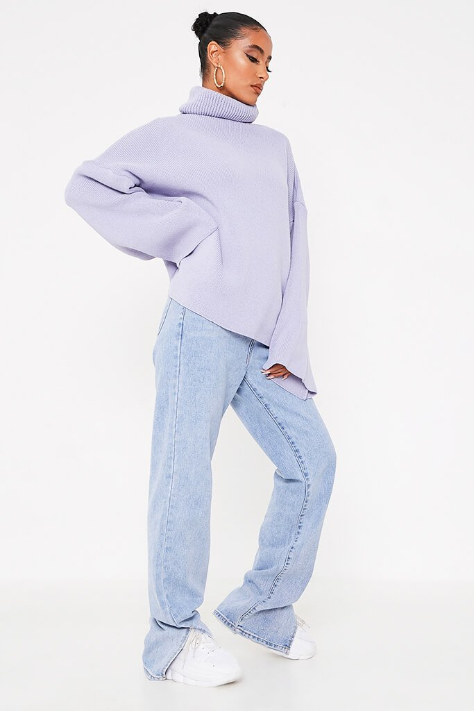Lilac Oversized Roll Neck Knitted Jumper view 3