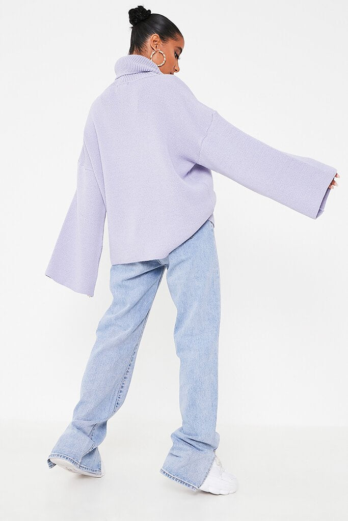 Lilac Oversized Roll Neck Knitted Jumper view 4