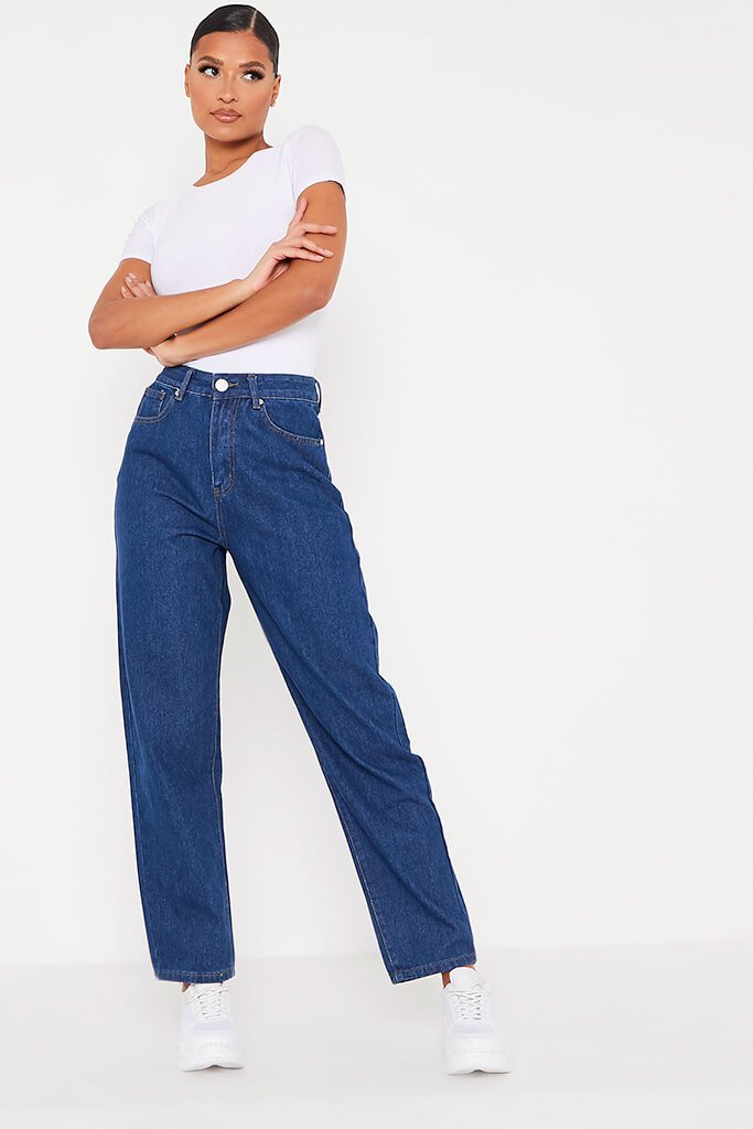 Dark Wash Baggy Boyfriend Jeans view 3