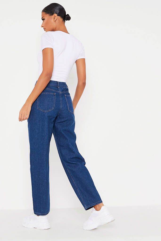 Dark Wash Baggy Boyfriend Jeans view 4