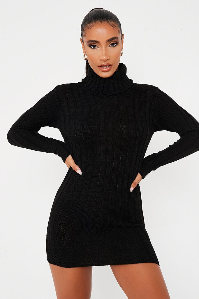 Black Roll Neck Knitted Dress