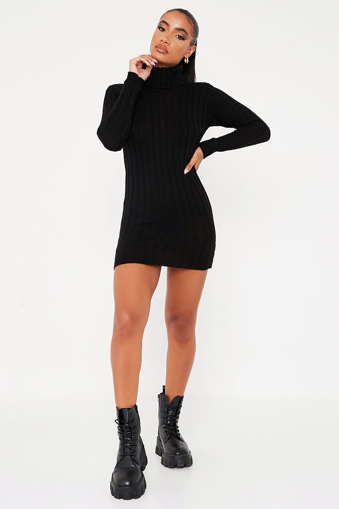 Black Roll Neck Knitted Dress view 2