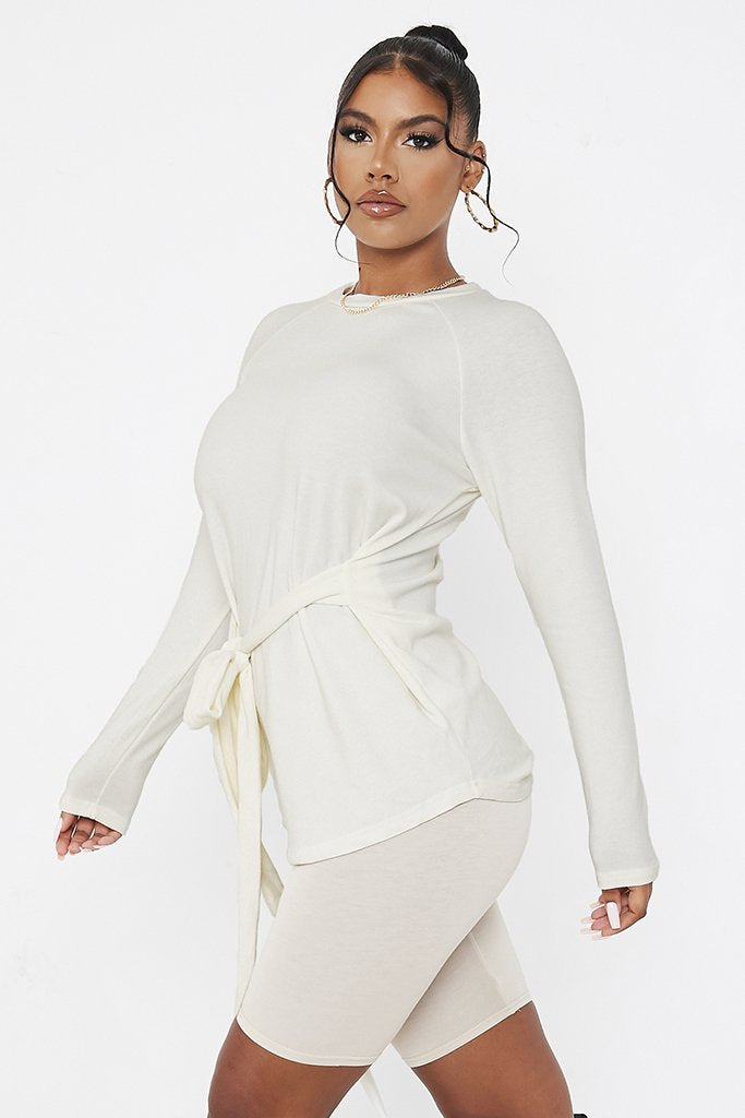 Cream Waist Tie Long Line Top view 3