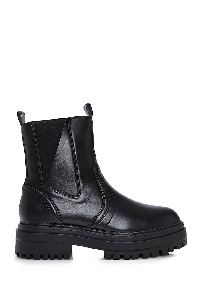 Black Faux Leather Seam Detail Pull On Biker Boots