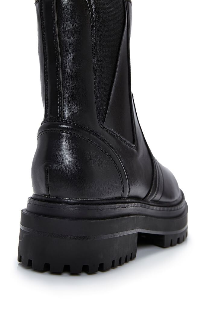 Black Faux Leather Seam Detail Pull On Biker Boots view 2