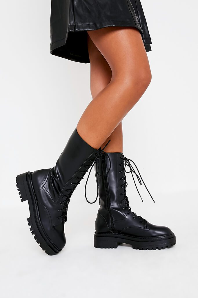 Black Faux Leather Chunky Lace Up Military Boots