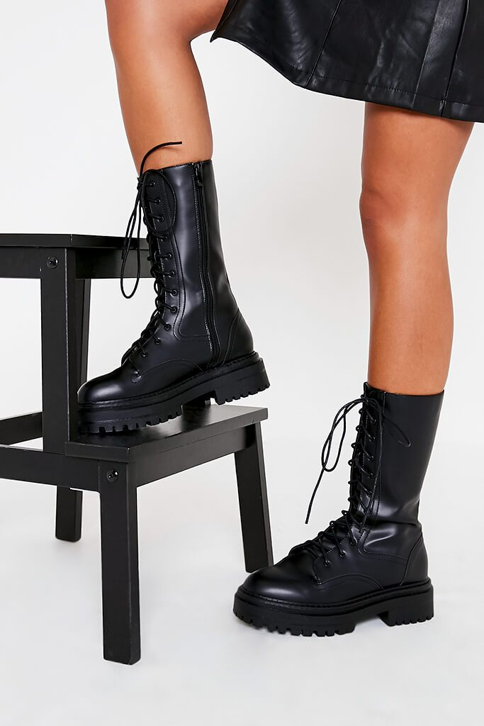 Black Faux Leather Chunky Lace Up Military Boots view 2