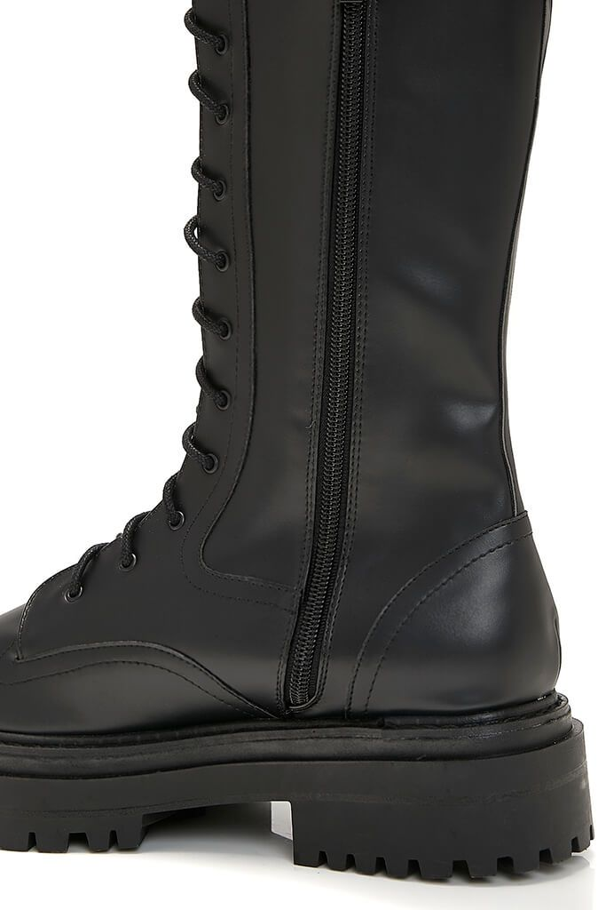 Black Faux Leather Chunky Lace Up Military Boots view 5
