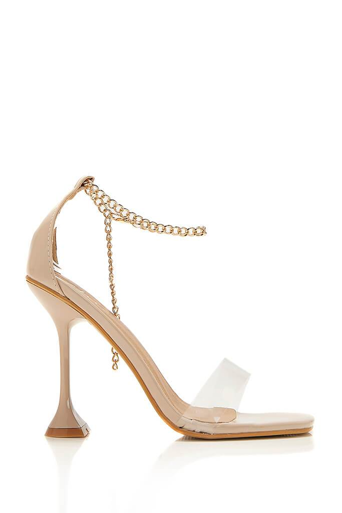 Nude Chain Anklet Strap Heeled Sandals view 4