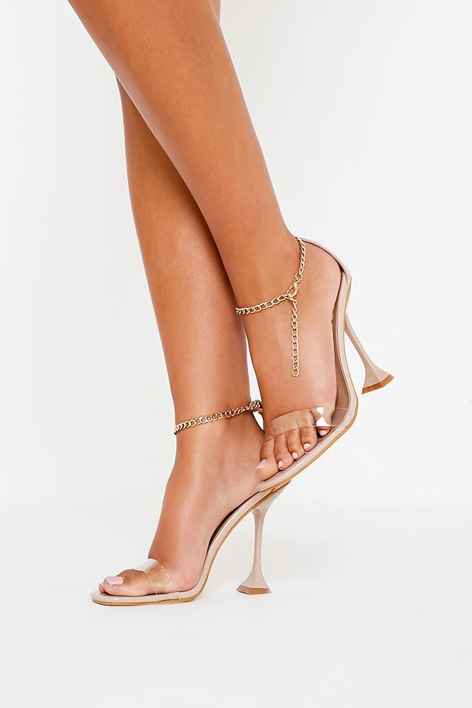 Nude Chain Anklet Strap Heeled Sandals