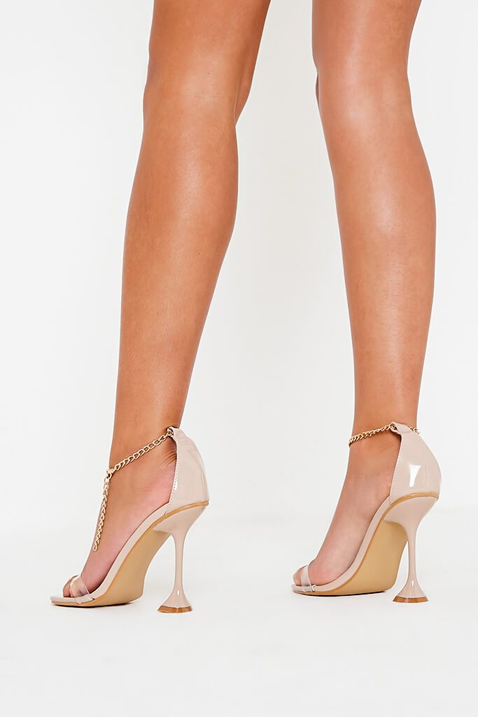 Nude Chain Anklet Strap Heeled Sandals view 3