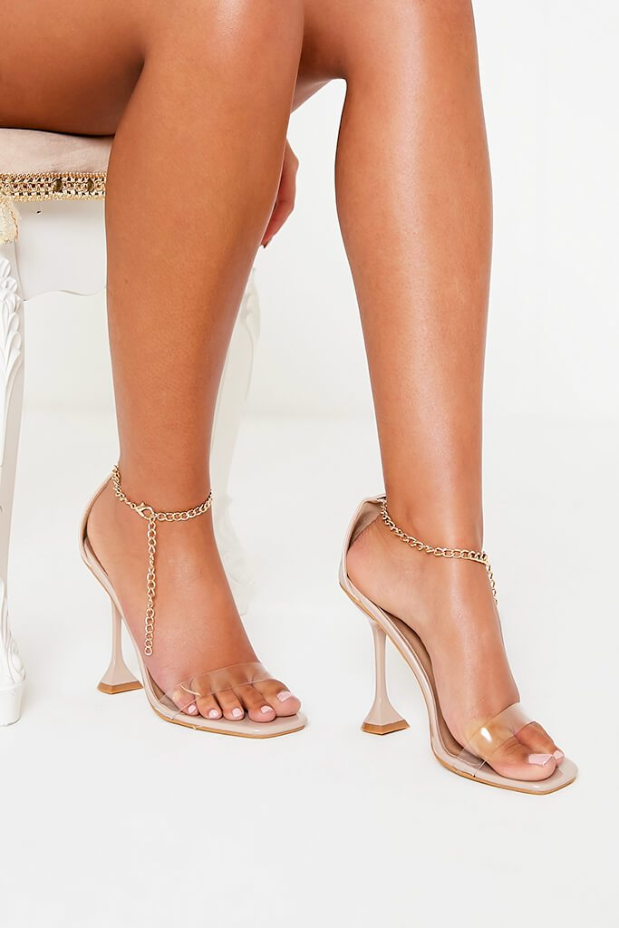 Nude Chain Anklet Strap Heeled Sandals view 2