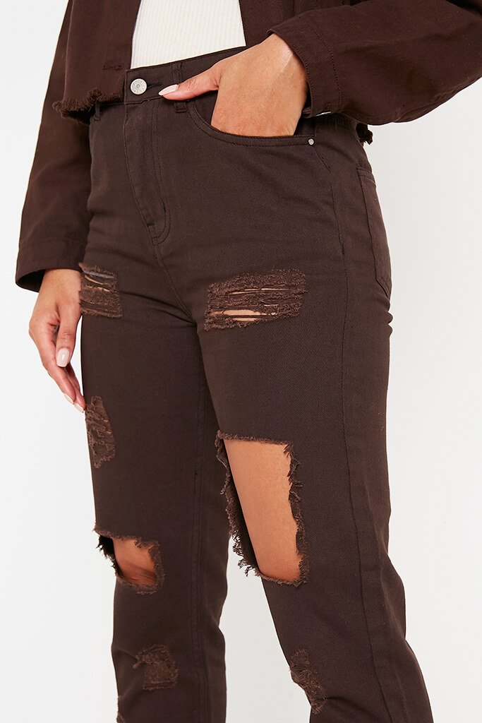 Chocolate Ripped Mom Jeans view 5