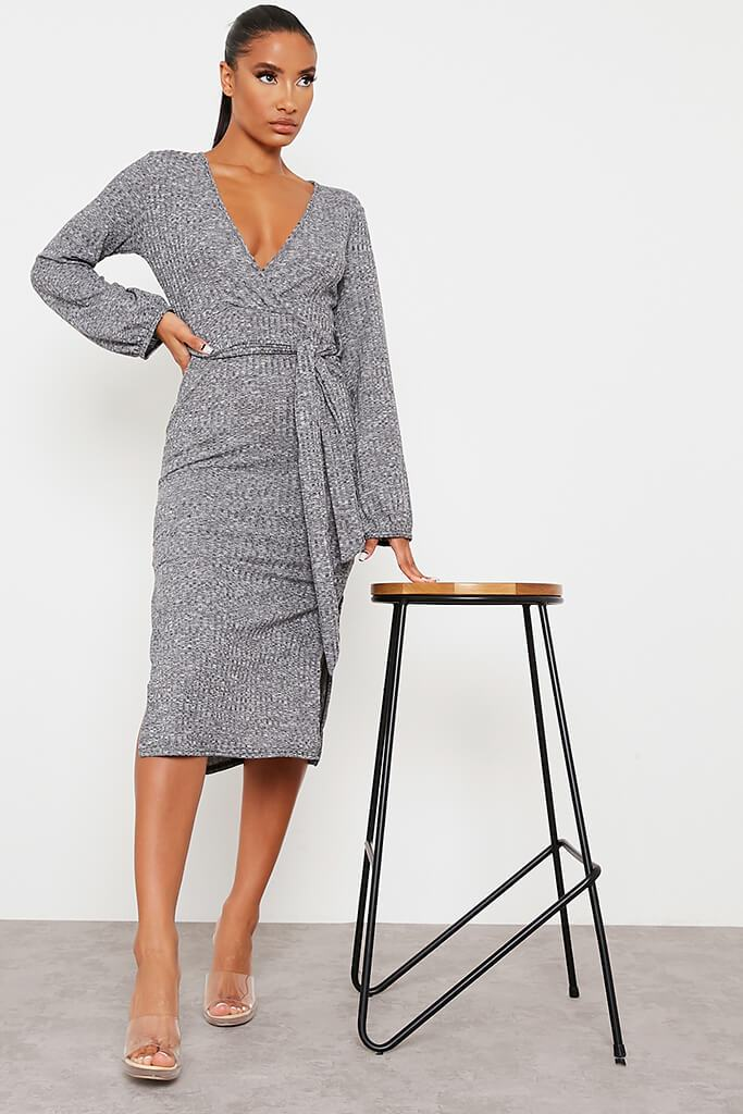 Charcoal Chunky Rib Wrap Midi Dress