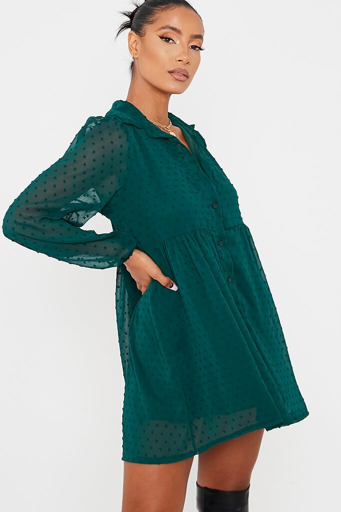 Emerald Green Dobby Mesh Button Front Smock Dress