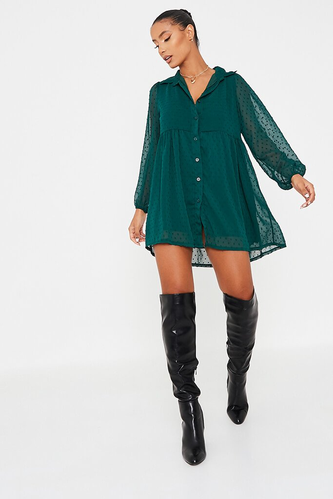 Emerald Green Dobby Mesh Button Front Smock Dress view 2