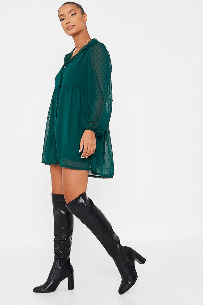 Emerald Green Dobby Mesh Button Front Smock Dress view 3