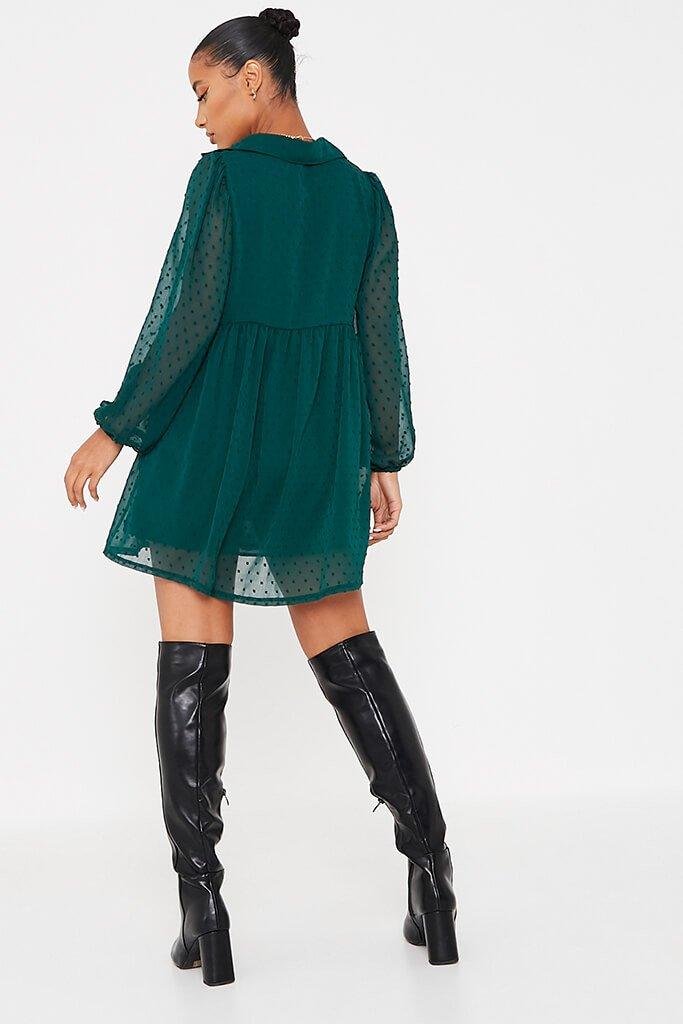Emerald Green Dobby Mesh Button Front Smock Dress view 4