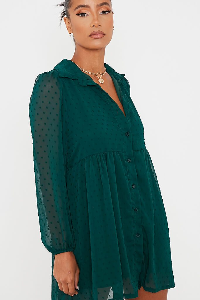 Emerald Green Dobby Mesh Button Front Smock Dress view 5