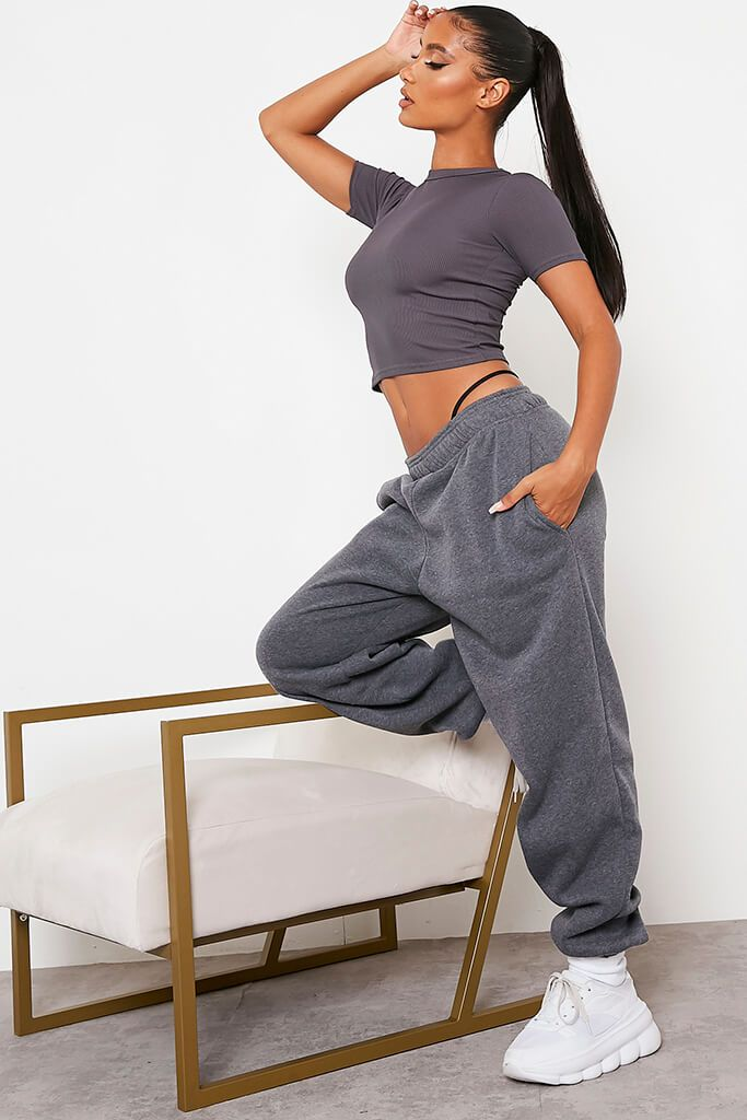 Charcoal Rib Fitted Crop T Shirt view 3